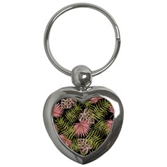 Tropical Pattern Key Chains (heart)  by ValentinaDesign
