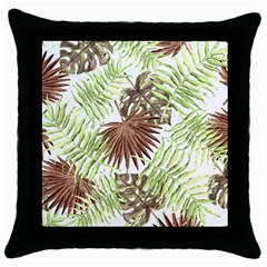 Tropical Pattern Throw Pillow Case (black) by ValentinaDesign