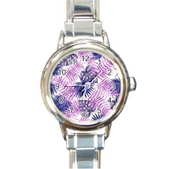 Tropical Pattern Round Italian Charm Watch by ValentinaDesign