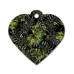 Tropical Pattern Dog Tag Heart (one Side) by ValentinaDesign