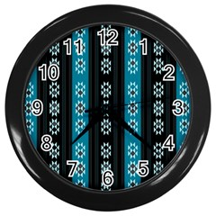 Folklore Pattern Wall Clocks (black) by ValentinaDesign