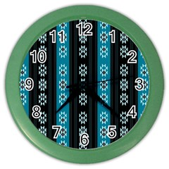 Folklore Pattern Color Wall Clocks by ValentinaDesign