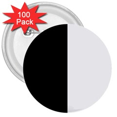 Black And White 3  Buttons (100 Pack)  by Valentinaart