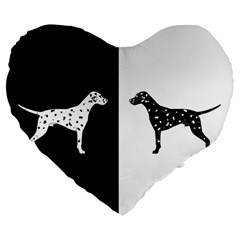 Dalmatian Dog Large 19  Premium Flano Heart Shape Cushions by Valentinaart