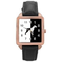 Dalmatian Dog Rose Gold Leather Watch