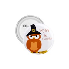Halloween Orange Witch Owl 1 75  Buttons by Valentinaart