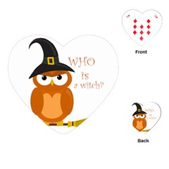 Halloween Orange Witch Owl Playing Cards (heart)