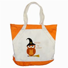 Halloween Orange Witch Owl Accent Tote Bag by Valentinaart