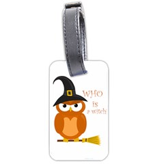 Halloween Orange Witch Owl Luggage Tags (one Side)  by Valentinaart
