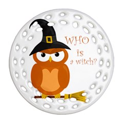 Halloween Orange Witch Owl Round Filigree Ornament (two Sides) by Valentinaart