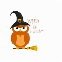 Halloween Orange Witch Owl Small Garden Flag (two Sides) by Valentinaart