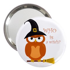 Halloween Orange Witch Owl 3  Handbag Mirrors by Valentinaart