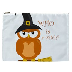 Halloween Orange Witch Owl Cosmetic Bag (xxl)  by Valentinaart