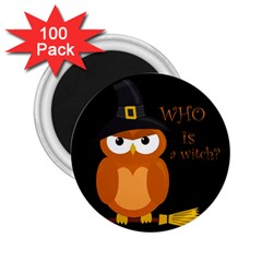 Halloween Orange Witch Owl 2 25  Magnets (100 Pack)  by Valentinaart