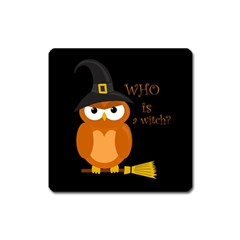 Halloween Orange Witch Owl Square Magnet by Valentinaart