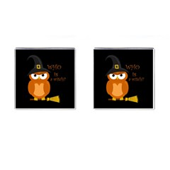 Halloween Orange Witch Owl Cufflinks (square)