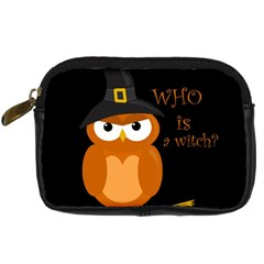 Halloween Orange Witch Owl Digital Camera Cases by Valentinaart