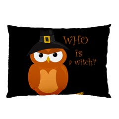Halloween Orange Witch Owl Pillow Case (two Sides) by Valentinaart