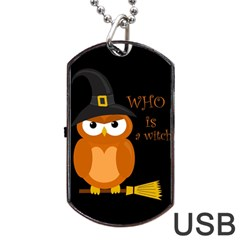 Halloween Orange Witch Owl Dog Tag Usb Flash (two Sides) by Valentinaart