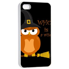 Halloween Orange Witch Owl Apple Iphone 4/4s Seamless Case (white) by Valentinaart