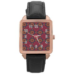 Oriental Pattern Rose Gold Leather Watch  by ValentinaDesign