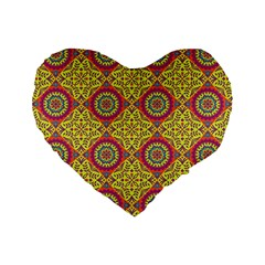 Oriental Pattern Standard 16  Premium Flano Heart Shape Cushions by ValentinaDesign