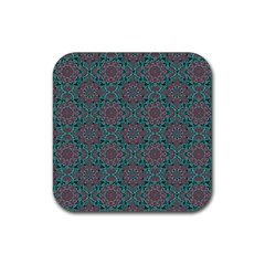Oriental Pattern Rubber Square Coaster (4 Pack)  by ValentinaDesign