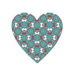Colorful Geometric Graphic Floral Pattern Heart Magnet by dflcprints