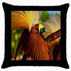 Birds Paradise Cendrawasih Throw Pillow Case (black) by Mariart