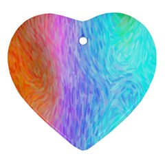 Aurora Rainbow Orange Pink Purple Blue Green Colorfull Ornament (heart)