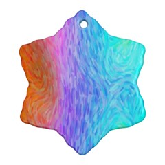 Aurora Rainbow Orange Pink Purple Blue Green Colorfull Snowflake Ornament (two Sides) by Mariart