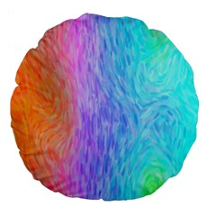 Aurora Rainbow Orange Pink Purple Blue Green Colorfull Large 18  Premium Flano Round Cushions by Mariart