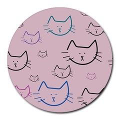Cat Pattern Face Smile Cute Animals Beauty Round Mousepads by Mariart