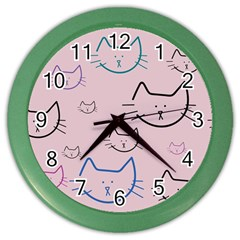 Cat Pattern Face Smile Cute Animals Beauty Color Wall Clocks