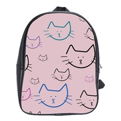 Cat Pattern Face Smile Cute Animals Beauty School Bag (large)