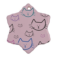 Cat Pattern Face Smile Cute Animals Beauty Ornament (snowflake)