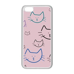 Cat Pattern Face Smile Cute Animals Beauty Apple Iphone 5c Seamless Case (white)