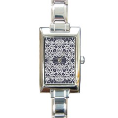 Blue White Lace Flower Floral Star Rectangle Italian Charm Watch by Mariart