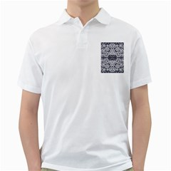Blue White Lace Flower Floral Star Golf Shirts