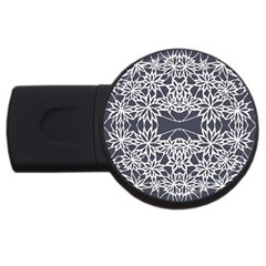 Blue White Lace Flower Floral Star Usb Flash Drive Round (2 Gb) by Mariart