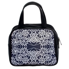 Blue White Lace Flower Floral Star Classic Handbags (2 Sides) by Mariart