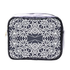 Blue White Lace Flower Floral Star Mini Toiletries Bags by Mariart