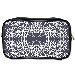 Blue White Lace Flower Floral Star Toiletries Bags 2 Side