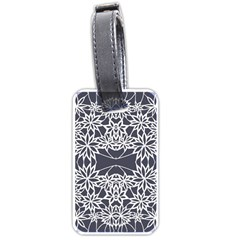 Blue White Lace Flower Floral Star Luggage Tags (one Side)