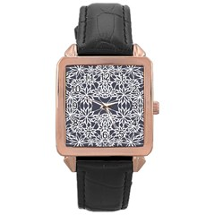 Blue White Lace Flower Floral Star Rose Gold Leather Watch  by Mariart