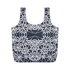 Blue White Lace Flower Floral Star Full Print Recycle Bags (m)