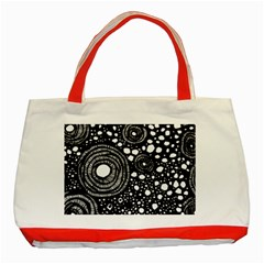 Circle Polka Dots Black White Classic Tote Bag (red) by Mariart