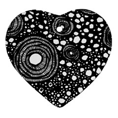 Circle Polka Dots Black White Heart Ornament (two Sides) by Mariart