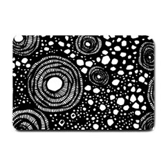 Circle Polka Dots Black White Small Doormat