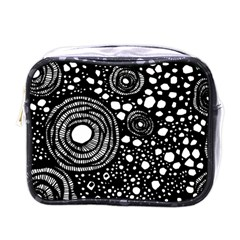 Circle Polka Dots Black White Mini Toiletries Bags by Mariart
